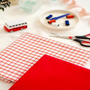 کتان  تترون چهارخونه لباسی رنگ قرمز