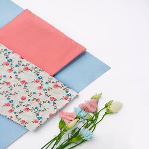 کتان گلدار گلبهی-ابی-زمینه سفید