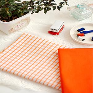 کتان  تترون چهارخونه لباسی رنگ نارنجی